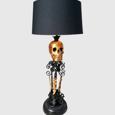 lampara froja negra y dorada calavera Les Morts