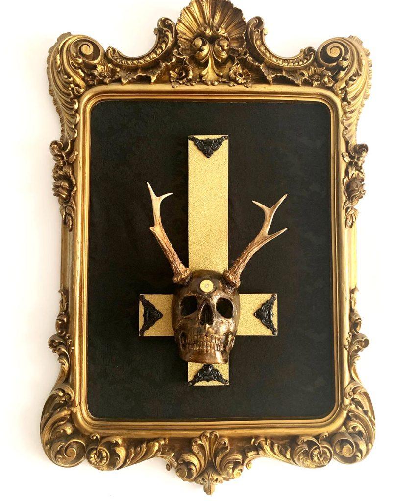 cuadro barroco crucifijo calavera Les morts